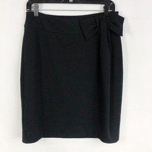 Anthropologie Solid Black Bow Career Formal Skirt